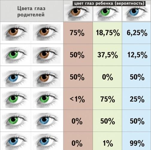 Цвет глаз у ребенка и родителей
